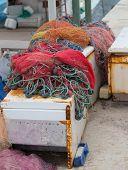 Colorful Fishing Nets. Fisherman Net, Fishnet In Port In Turkey poster