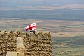 Georgian Flag In The Top Of The Tower Of Sighnaghi Town City Wall In Georgia, Khahheti Region. Signa poster