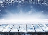 Empty Blue Winter Christmas Scenic Landscape With Copy Space. Wooden Table With Snow And Fir-trees C poster