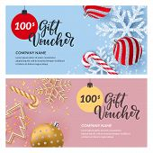 Gift Card, Voucher, Certificate Or Coupon Vector Design Template. Discount Banner Layout For Christm poster