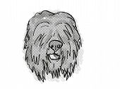 Retro Cartoon Style Drawing Of Head Of A Black Russian Terrier , A Domestic Dog Or Canine Breed On I poster