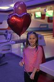 Girl With Balloons Celebrate Birthday In Bowling Club. Birthday Party At Bowling. Ideas How To Celeb poster