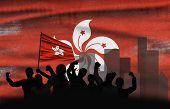 Political Relationships. Hong Kong Flag Background With Protesting People. Hong Kong Demonstration.  poster