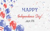 United States Independence Day Greeting Card. Flying Balloons In United States National Colors. Happ poster