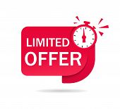Red Limited Offer Tag With Clock For Promotion, Banner, Price. Label Countdown Of Time For Offer Sal poster