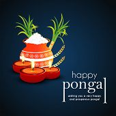 Happy Pongal Religious Festival Of South India Celebration Background. Glossy Mud Pot, Full Of Rice  poster