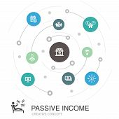 Passive Income Colored Circle Concept With Simple Icons. Contains Such Elements As Affiliate Marketi poster