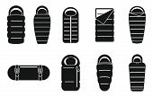 Adventure Sleeping Bag Icons Set. Simple Set Of Adventure Sleeping Bag Vector Icons For Web Design O poster