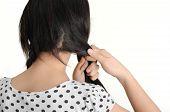 image of dandruff  - beautiful young woman braid one - JPG