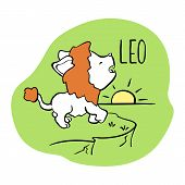 Leo Astrological Zodiac Sign With Cute Cat Character. Cat Zodiac Icon. Kitten Leo Sticker. Baby Show poster