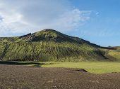 Beautiful Green Volcanic Hill With Lush Moss And Grass Near Alftavatn Lake. Summer Sunny Day, Landsc poster