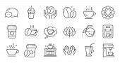Coffee Line Icons. Beans, Hot Cocktail And Coffee Maker Machine. Espresso Cup, Cappuccino Line Icons poster