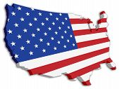 stock photo of usa flag  - A 3D US map with flag of the united states of america - JPG