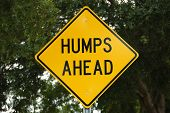 stock photo of hump  - Humps ahead sign for speed bumps with clipping paths - JPG
