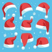 Santa Hats. Red Christmas Santa Hat Design Set, Holiday Masquerade Costume Decoration, Funny Party F poster