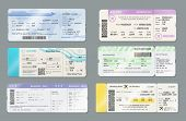 Airline Boarding Pass Ticket Vector Templates, Travel By Plane Design. Flight Cards With Flying Airp poster