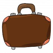 Suitcase Icon. Vector Illustration Of A Suitcase For Things. Hand Drawn Suitcase For Travel. poster