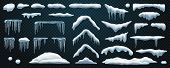 Set Of Isolated Snowdrift And Icicle, Snow Cap And Snowball, Snowflake Decoration Or Ice Template, F poster