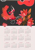Calendar For 2020 Year. Beautiful Vector Template. Treble Clef And Music, Girl In Red Dress Dancing  poster