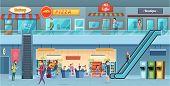 Mall Interior. Retailers Hypermarket Commercial Shopping Big Hall Windows Vector Cartoon Illustratio poster