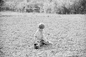Planting In Field. Planting Seedlings. Little Boy Planting Flower In Field. Fun Time At Farm. Happy  poster