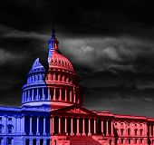 The United States Capitol Building Half Red And Blue, Representing Democrat And Republican Political poster