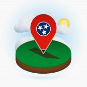 Isometric Round Map Of Us State Tennessee And Point Marker With Flag Of Tennessee. Cloud And Sun On  poster