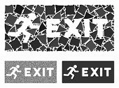 Emergency Exit Composition Of Humpy Items In Different Sizes And Color Tints, Based On Emergency Exi poster