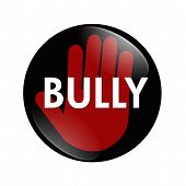 pic of stop bully  - A black white and red button with word Bully with stop hand symbol isolated on a white background No Bully button - JPG