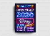 2020 Happy New Year Party Poster Neon Vector. 2020 New Year Design Template For Seasonal Flyers And  poster