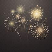 Bright Fireworks Explosions Isolated On Transparent Background. New Years Eve Fireworks. Festive Spa poster