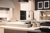 Kitchen Interior, Modern Kitchen With A Luxury Mixer, Breakfast Concept, Kitchen Background, Concept poster