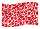 Waving Red Flag Collage. Vector Dollar Design Elements Are Arranged Into Geometric Red Waving Flag C poster