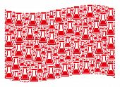 Waving Red Flag Collage. Vector Flask Items Are Grouped Into Geometric Red Waving Flag Collage. Patr poster