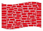 Waving Red Flag Collage. Vector Building Brick Design Elements Are Arranged Into Mosaic Red Waving F poster