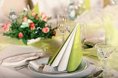 Festive table setting for wedding, Valentine or other event ( Empty place cards on the white festive
