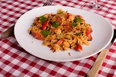 pic of creole  - cajun jambalaya on white plate with a square tablecloth - JPG