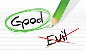 stock photo of good-vs-evil  - good vs evil illustration design graphic over a notepad paper - JPG
