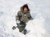picture of ruddy-faced  - Little boy plays winter day - JPG