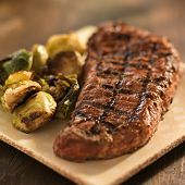 grilled steak with brussel sprouts