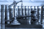 foto of justice law  - Symbol of law and justice with books law and justice concept focus on the gavel blue tone - JPG
