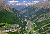 View of Valley Saastal in the canton Wallis , in the foreground the town of Saas Fee and   Saas Grun