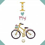 Greeting card with a pink bike.