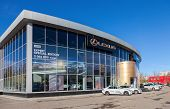 Samara, Russia - October 20: Building Of Official Dealer Lexus On Blue Sky Background, October 20, 2