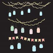 pic of masonic  - Vector Set of Hanging Glass Jar Lights and Bunting - JPG