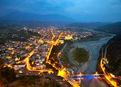 Berat in Albania at nighttime
