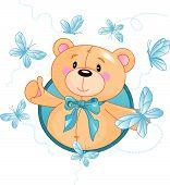 image of teddy-bear  - Very cute Teddy Bear waiving hello - JPG