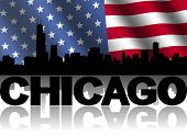 Chicago skyline and text reflected with rippled American flag illustration