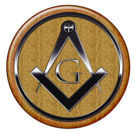 image of freemasons  - Freemason metallic symbol on round wooden plaque - JPG