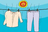 Clothes Drying In Sun